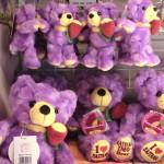 紫の熊ぬいぐるみ