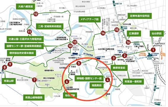 るーぷる仙台路線図で計画